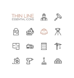 Construction - thin single line icons set vector