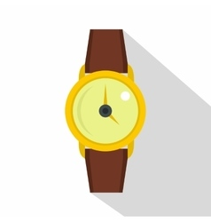 Gold wristwatch icon flat style vector