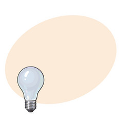 Matted opaque tungsten light bulb side view vector