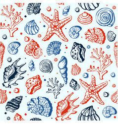 sea marine shells hand drawn seamles vector image