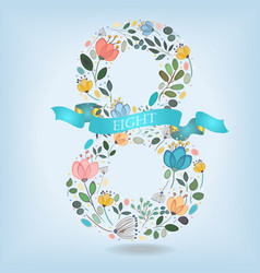 Floral number eight with blue ribbon vector