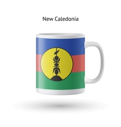 New caledonia flag souvenir mug on white vector