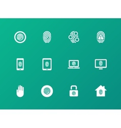 Security fingerprint icons on green background vector