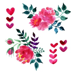 Set of beautiful watercolor flowers vector