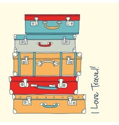Collection of retro suitcases love travel concept vector