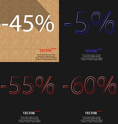 5 55 60 icon set of percent discount on abstract vector