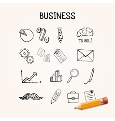 Set of business doodles icons hand drawn vector