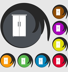 Cupboard icon sign symbols on eight colored vector
