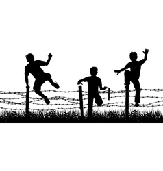 Fence boys vector