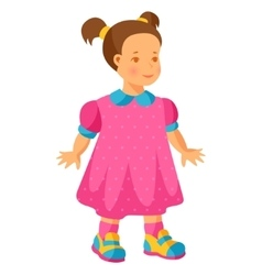 Pretty little girl in pink dress vector