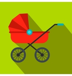 Red baby carriage flat icon vector