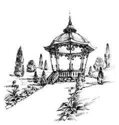 Gazebo in the park vector