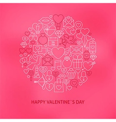 Thin Line Valentine Day Icons Set Circle Concept vector image