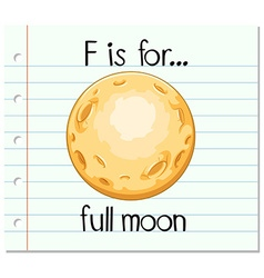Flashcard letter f is for full moon vector