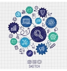 Seo hand drawing integrated sketch icons vector