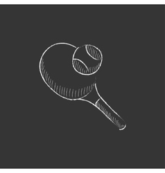 Tennis racket and ball drawn in chalk icon vector