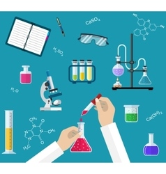 Science experiment or chemistry laboratory concept vector