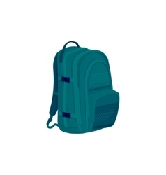 Green backpack isolated on white vector
