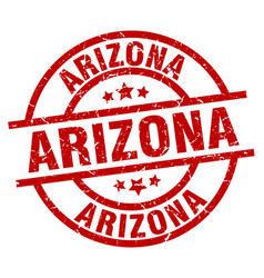 Arizona red round grunge stamp vector