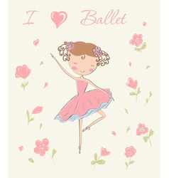 Ballerina with flowers vector