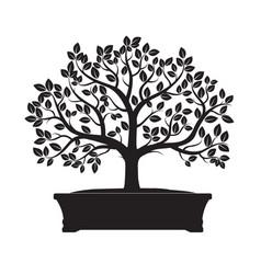 Black bonsai tree vector