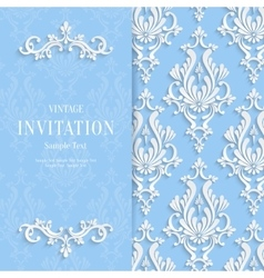 Blue floral 3d christmas and invitation vector