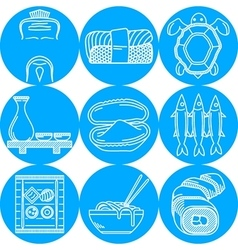 blue round line icons for japanese menu vector image