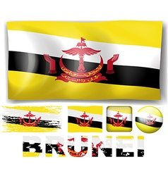 Brunei flag in different designs vector image
