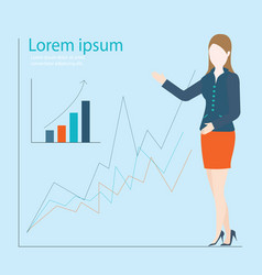 Business woman showing graph of successful vector