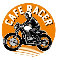 cafe racer motorcycle badge vector image