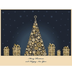 Crisrmas tree with cristmas gift boxes from golden vector image