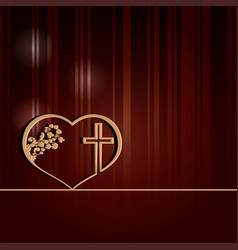 Dark red design with heart and cross vector