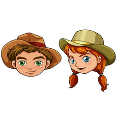 Faces of a boy and a girl vector image