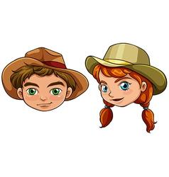 Faces of a boy and a girl vector image vector image