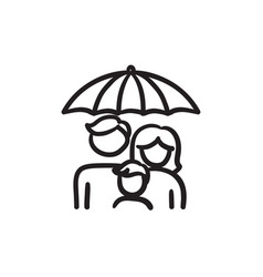 family insurance sketch icon vector image