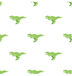 flat style seamless pattern with green dinosaur vector image