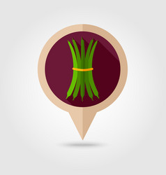 Green bean flat pin map icon vegetable vector