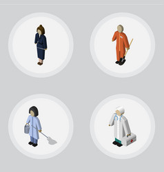 Isometric person set of businesswoman housemaid vector