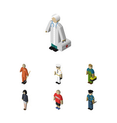 Isometric person set of officer cleaner medic vector