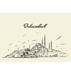 Istanbul skyline Turkey drawn sketch vector image vector image