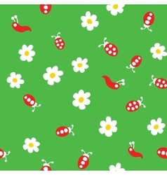 Ladybug worm and flowers seamless pattern vector