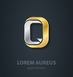 Letter Q Template for company logo 3d Design vector image