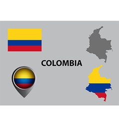 Map of colombia and symbol vector
