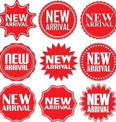 New arrival signs set new arrival sticker set vector