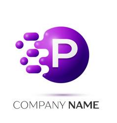 P letter splash logo purple dots circle bubble vector