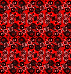 Red and black abstract background with circles vector image vector image