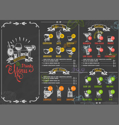Restaurant menu beverage drink poster chalkboard vector