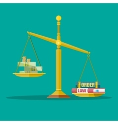 Scales with dollar cash and law order books vector