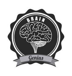 Seal stamp with brain icon vector
