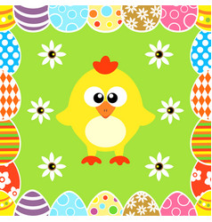 Seamless easter background with funny chicken vector